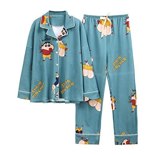 Pijamas para Mujer,Conjuntos De Crayon Shin Chan Manga Larga Algodón Ropa De Dormir Ropa De Dormir para Dama Conjuntos De Salón Suaves Ropa De Salón para Niña Azul L