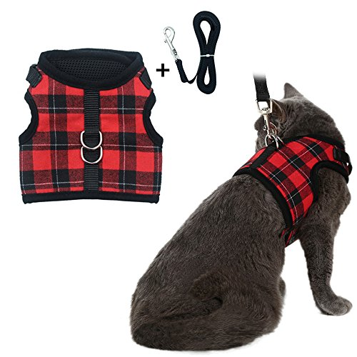 PUPTECK Checkered Frills Soft Mesh Dog Vest Harness Puppy Padded Pet Harnesses for Cat Small Dogs (Medium, Red Plaid)
