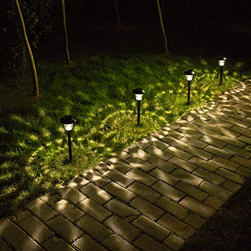 BEAU JARDIN 8 Pack Solar Lights Bright Pathway Outdoor Garden Stake Glass Stainless Steel Waterproof Auto On/Off White Wireless Sun Powered Landscape Lighting for Yard Patio Walkway Spike Pathway