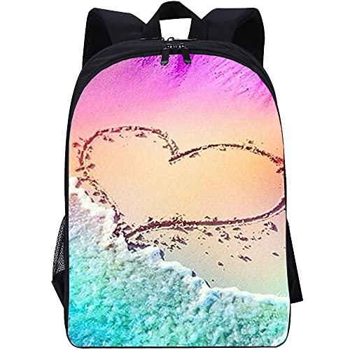 ZFWEI Mochila mochila Amor playa Mochila resistente con compartimento para computadora portátil y mochila para la escuela, la oficina, la universidad y como mochila cuando viaja