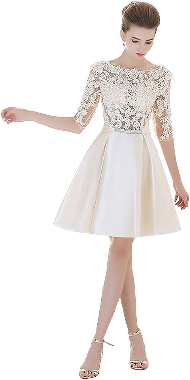 Aurora Bridal Elegant Lace Half Sleeves Satin Homecoming Dress
