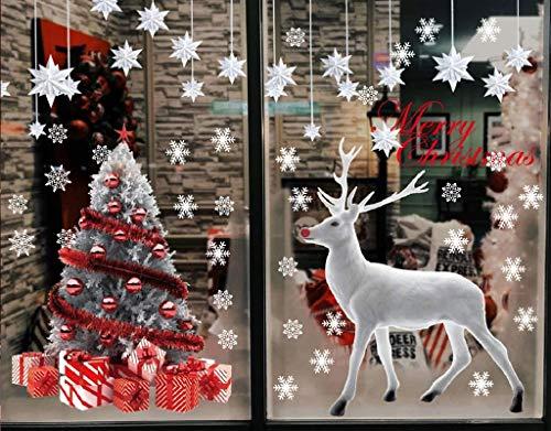 Yutdeng Pegatina de Navidad Grande Árbol De Navidad Blanco Alces Ventana de Pared Copos De Nieve Pegatinas Decorativas para Escaparate Decoracion Navideña Tiendas