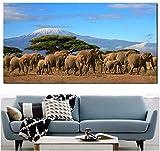 VGSD® Poster Und Drucke Wandkunst Bilder Elefanten Herde