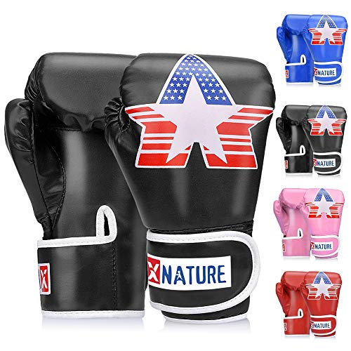 Xnature 4oz 6oz 8oz PU Kids Boxing Gloves w/Gift Box Children Cartoon MMA Kickboxing Sparring Youth Boxing Gloves Training Gloves Age 5-12 Years Black
