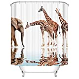 Fangkun Duschvorhang, Kunst, Badezimmer-Dekoration, Tiere, Giraffen- & Elefanten-Design, Polyester-Stoff, Badvorhänge-Set, 12 Duschhaken, 183 x 183 cm