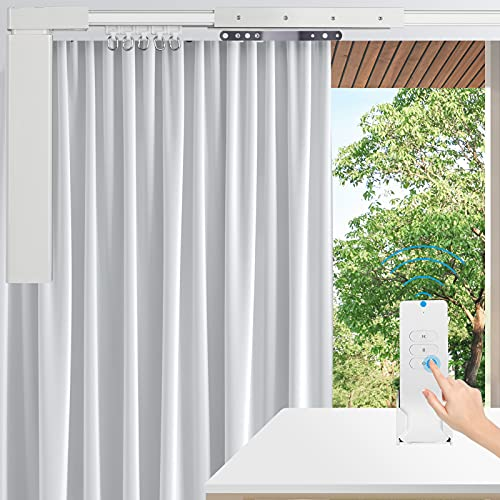 """Electric Curtain Tracks 87""""-244"""" Remote Automated Curtain Smart Curtains Motorized Curtains Rod with Remote Control (118'')"""