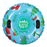 Toyvian Skin Ring Inflatable Seat, 94cm Inflatable Snow Tube with Handles, Heavy Duty Snow Sled Ski Ring Gifts for Kids and Adults
