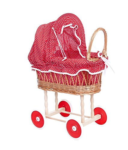 Egmont Toys Puppen Stubenwagen, Puppenwagen, aus Korb, innen rot/weiß gepunktet Maße: 50 x 28 x 58 cm