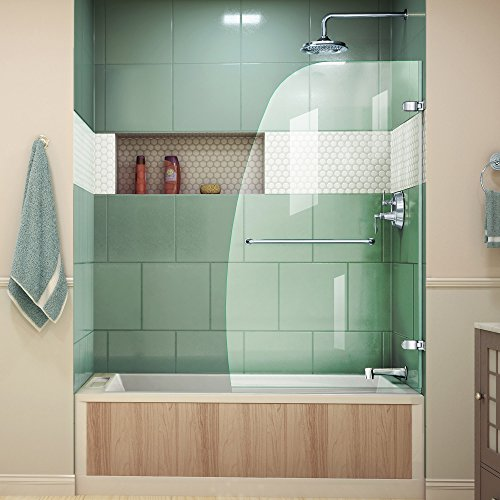 DreamLine Aqua Uno 34 in. W x 58 in. H Frameless Hinged Tub Door in Chrome, SHDR-3534586-01