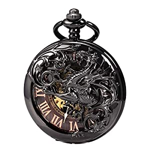 Treeweto Antique Dragon Mechanical Skeleton Pocket Watch with Chain