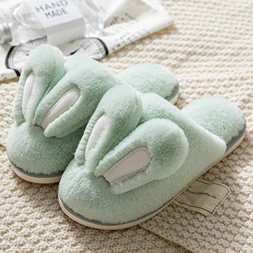 LXDWJ Zapatillas De Moda para Mujer, Zapatos De Piel Cálidos De Invierno para Mujer, Hombre, Pareja, Bonitas Orejas De Conejo, Suela Suave para El Hogar, Zapatillas De Felpa para Interior para Mujer