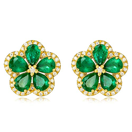 AueDsa Orecchino Verde Oro Orecchini Donna Oro Giallo 18K Fiore con Smeraldo Verde Bianca 1.69ct
