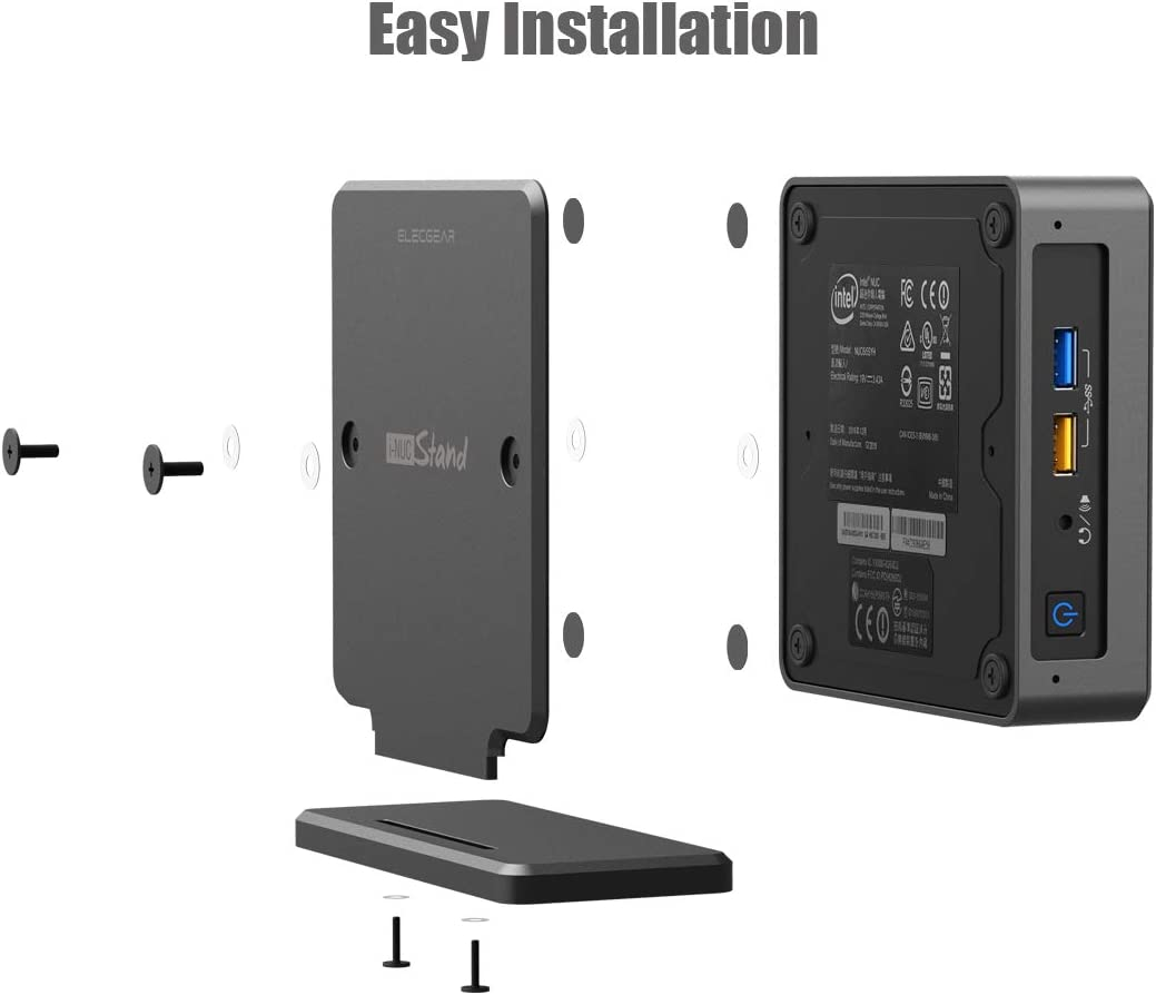 Aluminum Cooling Holder Case Desktop VESA Mount Space-Saving Organizer ElecGear iNUC-K Vertical Stand for Intel NUC Mini PC 7 and 8 Mainstream Kit Compatible with Thin Edition of Intel NUC 6