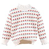 Girl's Ruffle Mock Neck Flower Striped Printed Long Sleeves Knit Pullover Sweater Tops, Floral White, 18-24 Months = Tag 100