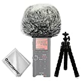 First2savvv Outdoor Portable Digital Recorders Furry Microphone Mic Windscreen Wind Muff for Tascam DR-22WL DR22 WL + mini tripod + Suede cleaning cloth TM-DM-DR22WL-C01TZ3
