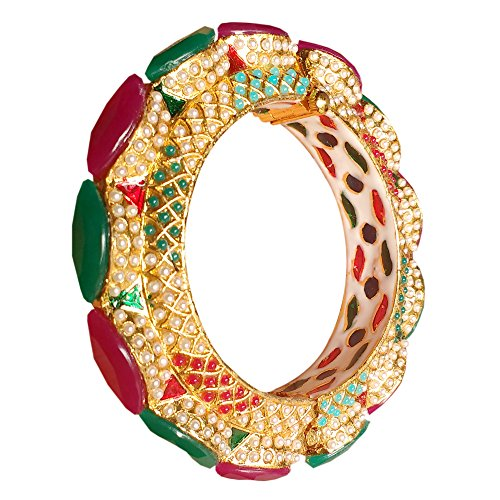 Armreif aus Messing, 22 Karat vergoldet, handgefertigt, Jadau Kundan Meenakari, antik, Rajwada, Rajasthani, großer Stein