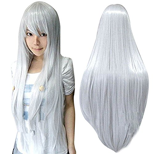 Anogol 80cm Long Straight Hair Silver Wigs Lolita Gray Cosplay Wig for Cosplay