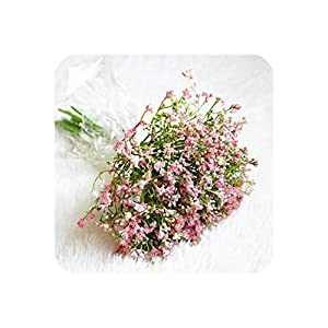 Silk Flower Arrangements 16Pcs/Bunch Handmade Baby Breath Artificial Flowers Jasmine for Home Wedding Garden Decoration Plastic Fake Flowers Gypsophila,Pink
