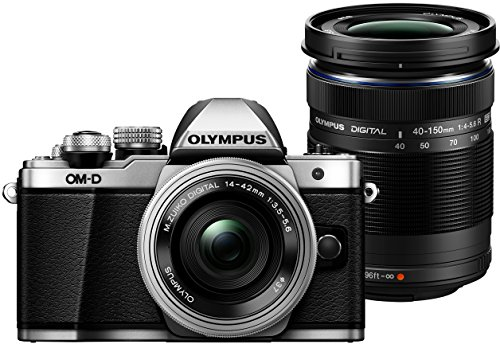 "Olympus E-M10 Mark-II - Cámara EVIL de 16.1 MP (pantalla 3"", estabilizador óptico, vídeo Full HD, WiFi, kit cuerpo cámara con M-Zuiko 14 - 42 mm Pancake y Double Zoom 40 - 150 mm IIR), Plata y Negro"