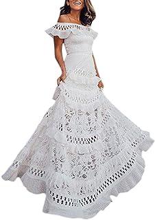 Copsis Women Summer Boho Dress Holiday Sleeveless Lace Hollow Out Sundress Daily Slash-Neck Long Dress