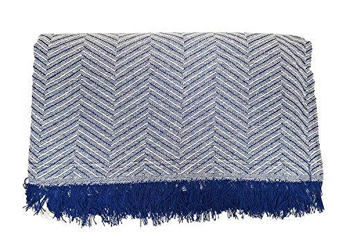 Cabatex Home - Colcha Multiusos Plaid Foulard Cubre SOFÁ O Cama Mod. ZIGA (Azul, 180_x_260_cm)