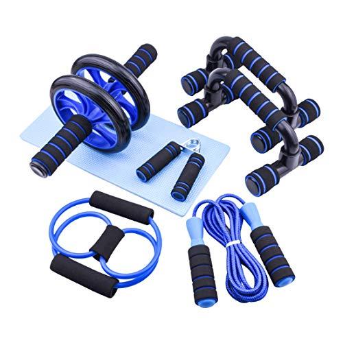 Eihwaz-fitness Trainingsset Bauchroller AB Roller Bauchtrainer Fitnessset Bauchtraining Liegestützgriffe Springseil Kniematte Bauchmuskeltraining Muskelaufbau für Anfänger und Fortgeschrittene
