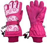 N'Ice Caps Kids Scroll Print Waterproof Thinsulate Insulated Winter Snow Gloves (Fuchsia Print, 4-5 Years)