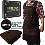 Woodworking Shop Apron - 16 oz Waxed Canvas Work Aprons | Waterproof, Fully Adjustable to Comfortably Fit Men and Women Size S to XXL | Tough Tool Apron to Give Protection and Last a Lifetime (Brown)