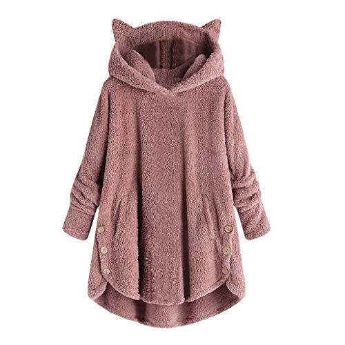 Lazzboy Pullover Womens Tops Hooded Cat Ear Hat Teddy Fleece Solid Casual Loose Irregular Hem Sweatshirt Pajamas Shirt Blouse Jumper (UK 14,Pink)