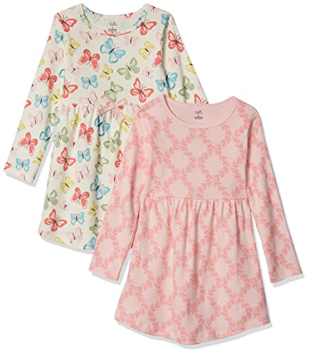 Touched by Nature Vestidos de Manga Corta y Manga Larga de algodón orgánico para niñas, niños pequeños, bebés y Mujeres, Mariposas de Manga Larga, 0-3 Meses
