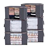 Lifewit Large Capacity Clothes Storage Bag Organizer with Reinforced Handle Thick Fabric for Comforters, Blankets, Bedding, Foldable with Sturdy Zipper, Clear Window, 6 Pack, 90L, Grey