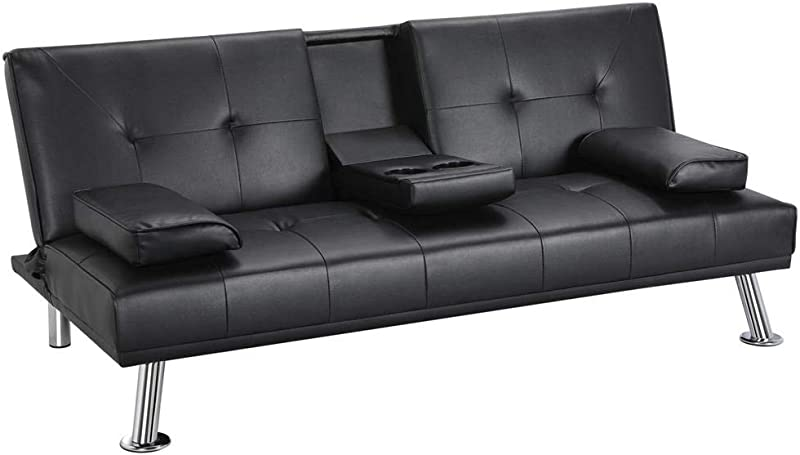Yaheetech Futon Sofa Bed Modern Faux Leather Couch Convertible Sofa Bed With Armrest Fold Up And Down Recliner Couch With Cup Holders Black