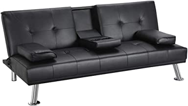 black leather fold out couch