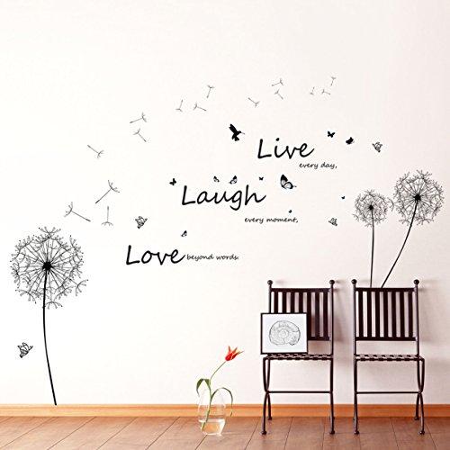 Walplus - Riesiger Löwenzahn Live Laugh Love Slogan Wandaufkleber Sticker