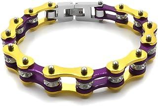Bracciale catena moto braccialetto del motociclista in acciaio inox da uomo e da donna color oro e porpora con shopper e c...