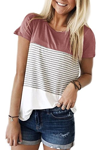 Yidarton Damen Sommer T-Shirt Casual Streifen Patchwork Kurzarm Oberteil Tops Bluse Shirt (XX-Large, Rosa)