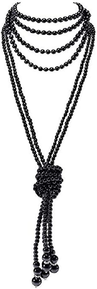 COLORFUL BLING Fashion Faux Pearls Long Necklace Pearl Multilayers Beaded Necklace for Women-Black