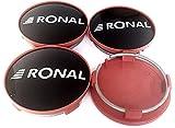 4 tapacubos originales RONAL de 62,2 mm, color negro brillante con borde rojo