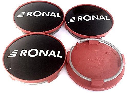 4x Original RONAL 62,2mm Nabendeckel Nabenkappe Schwarz Hochglanz Rand Rot Center Cap Deckel Felgendeckel