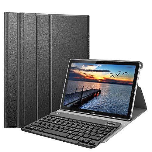 Fintie Bluetooth QWERTZ Tastatur Hülle für Huawei Mediapad M5 10.8/10.8 Pro - Ständer Schutzhülle mit Magnetisch Abnehmbarer Drahtloser Deutscher Bluetooth Tastatur für Huawei M5 10,8,Schwarz