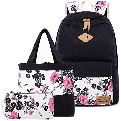 BLUBOON Teens Backpack Set Canvas Girls School Bags Bookbags 3 in 1 (Black-14)