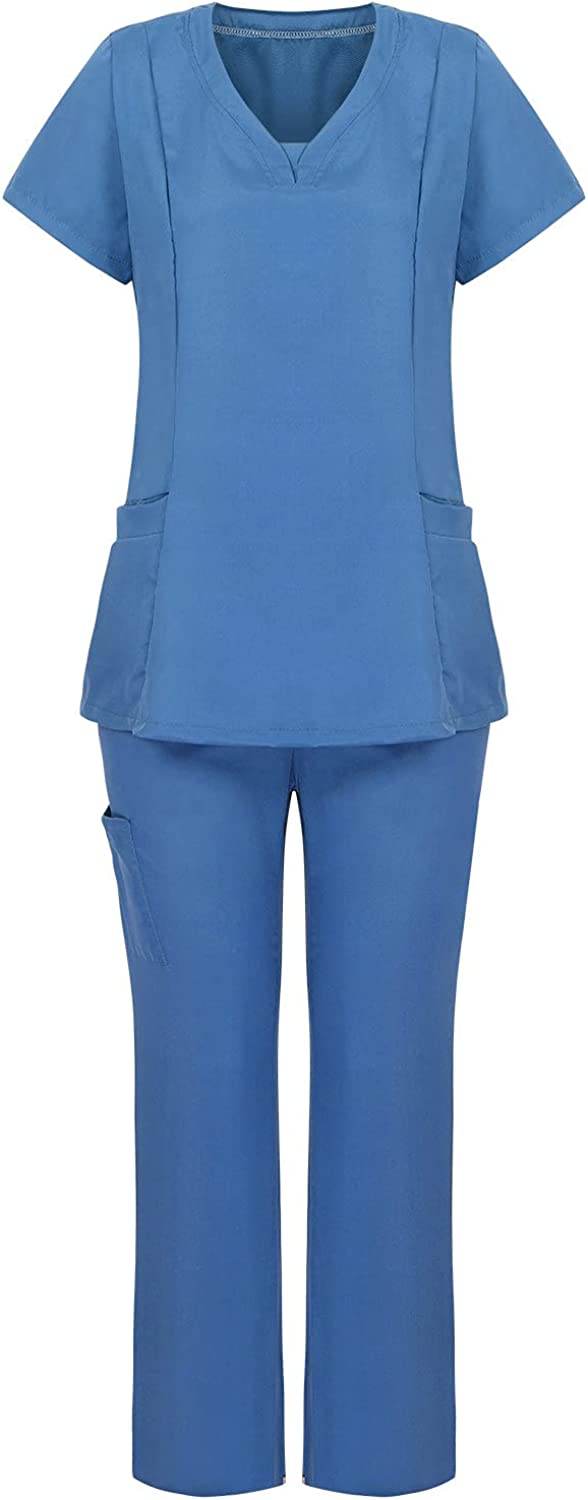 Scrubs_Medical Uniform Women Plus Size Solid Color Medical Scrubs_Top and Pants Scrubs_Two-Piece Sets