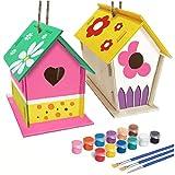 Odoukey DIY Kit de la casa del pájaro, Birdhouse de Madera Pintada de construcción del Juguete del Montaje de Dibujo Infantil Set de 2 2pcs Regalo Colas niños