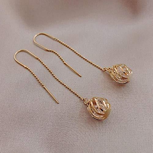 TGBN 1pair Classic style earrings Women Korean Long tassels metal hollow ball design crystal Drop earrings
