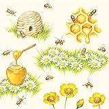 20 Servietten Bienen bei der Arbeit | Honig | Sommer | Tischdeko 33x33cm