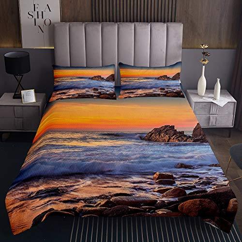 Ozean Steppdecke Meer Sonnenuntergang Landschaft Bettüberwurf 220x240cm für Kinder Erwachsene Tropische Hawaiianische Urlaub Tagesdecke Chic Natur Thema Mit 2 Kissenbezug