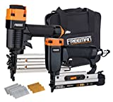 Freeman PPPBRCK Pneumatic Brad Nailer and Pinner Finish Kit with Nails and Canvas Storage Bag Ergonomic and Lightweight Brad and Pin Gun Set for Finish and Trim