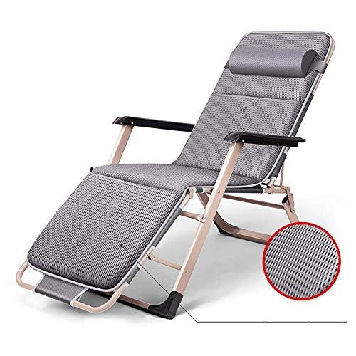 GCZZYMX - Silla reclinable ajustable de gravedad cero, silla plana de gravedad cero, tumbona relajante con cojín transpirable 4D, soporte de 120 kg, color gris