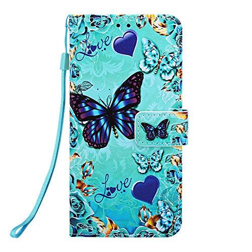 Miagon pour Samsung Galaxy J6 2018 Housse en PU Cuir,Coque Etui Portefeuille à Rabat Clapet Support Fermeture Magnétique Stand Case Cover,Bleu Papillon