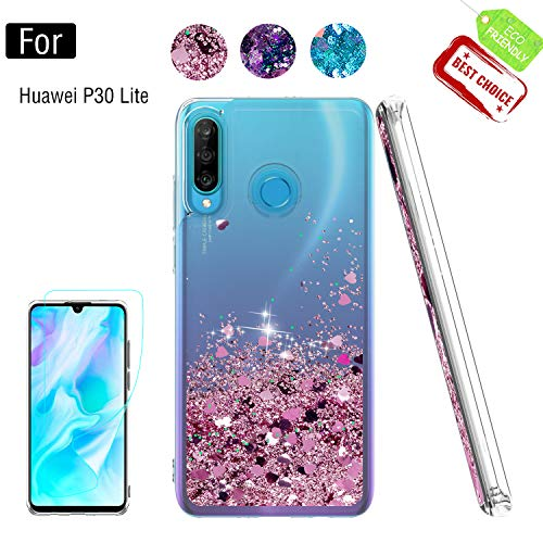 Atump for Huawei P30 Lite Case with HD Screen Protector for Girls Women,Glitter Shell Moving Quicksand Clear Shockproof Anti- Scratch Phone Cover Case for Huawei P30 Lite Rose Gold
